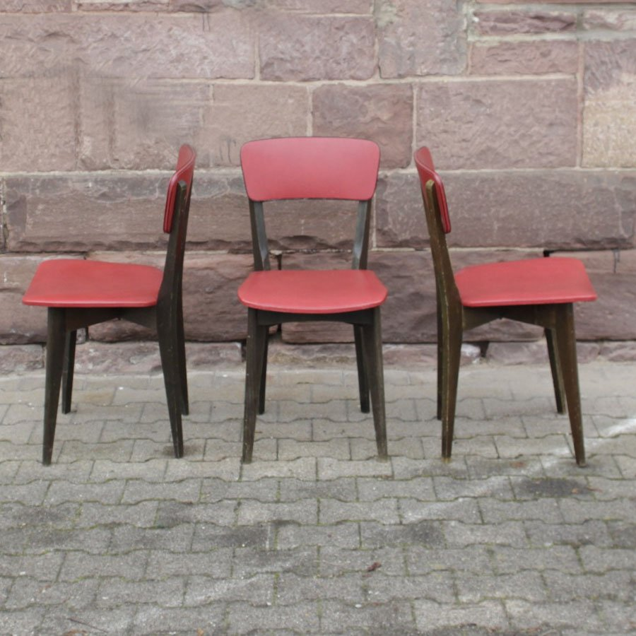 Französische Stühle aus Holz und Skai, 1960, 3er Set