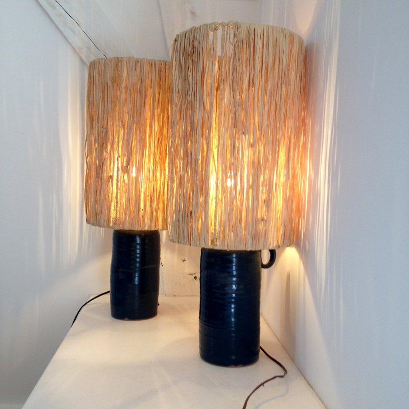 Große Keramik Lampen von Jacques Pouchain, 1955, 2er Set