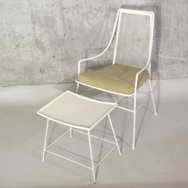 Vintage Metal Chair With Footstool, 1950s