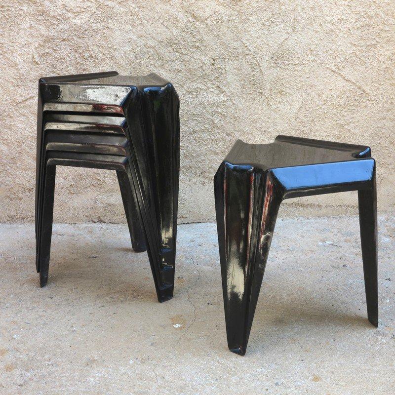 Schwarzer vintage kunststoff tisch von helmut b tzner f r for Schwarzer tisch