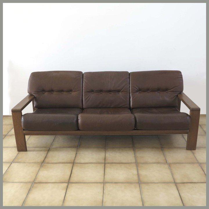 canap trois places vintage en cuir allemagne en vente sur pamono. Black Bedroom Furniture Sets. Home Design Ideas