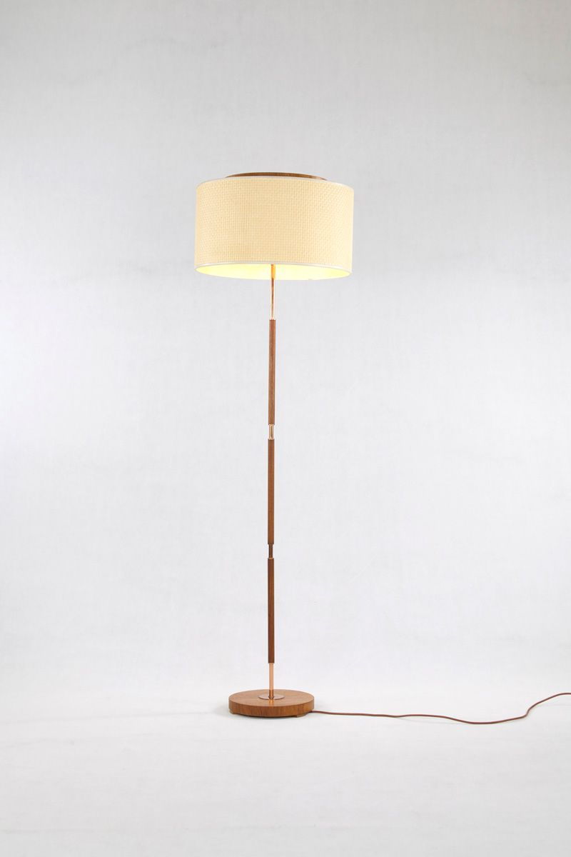 German Teak And Copper Floor Lamp 1960s For Sale At Pamono