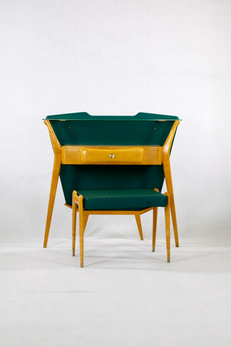 Green Mid Century Console Table With Stool