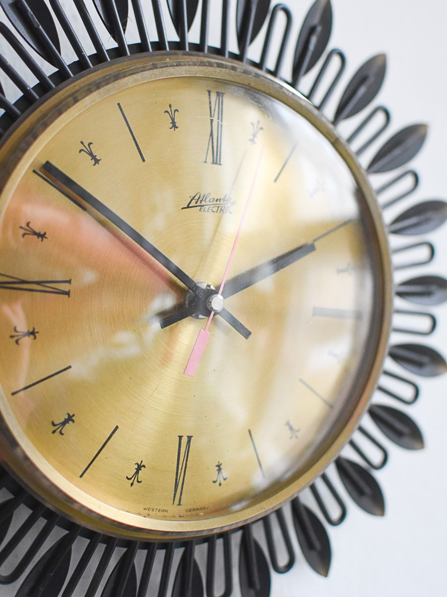 Mid Century Large Sunburst Wall Clock From Atlanta For