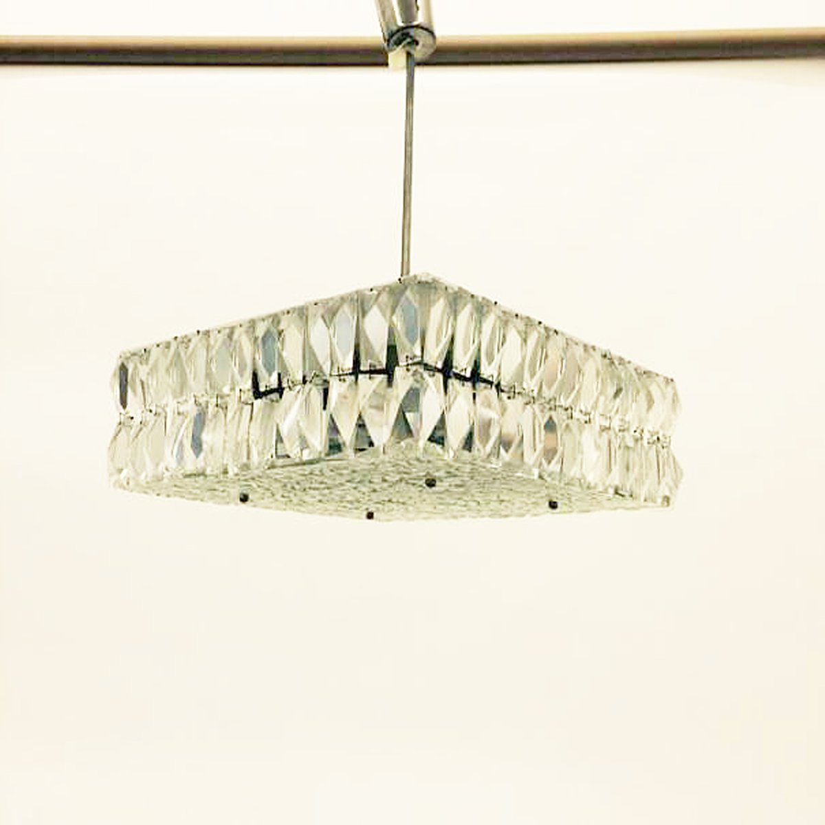 Hängelampe aus Kristallglas von Kalmar, 1960er