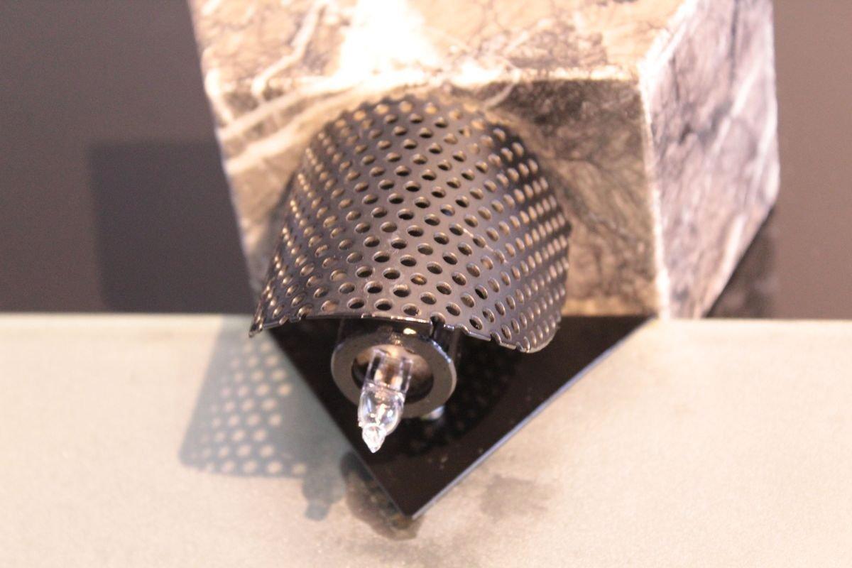 Lampade Da Tavolo Vintage A Forma Di Ventaglio In Marmo E Vetro Di Murano Set Di 2 In Vendita Su Pamono