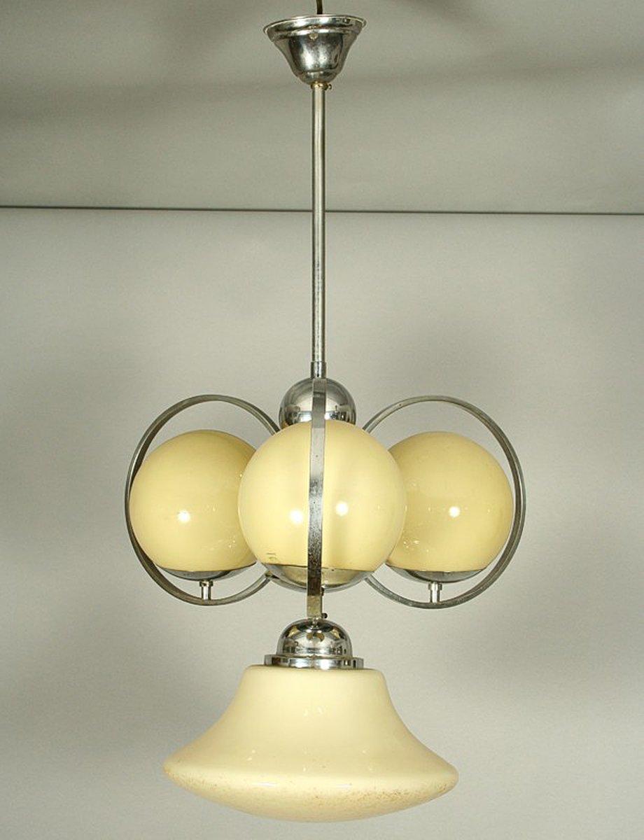 Österreichischer Art Deco Kugel Kronleuchter