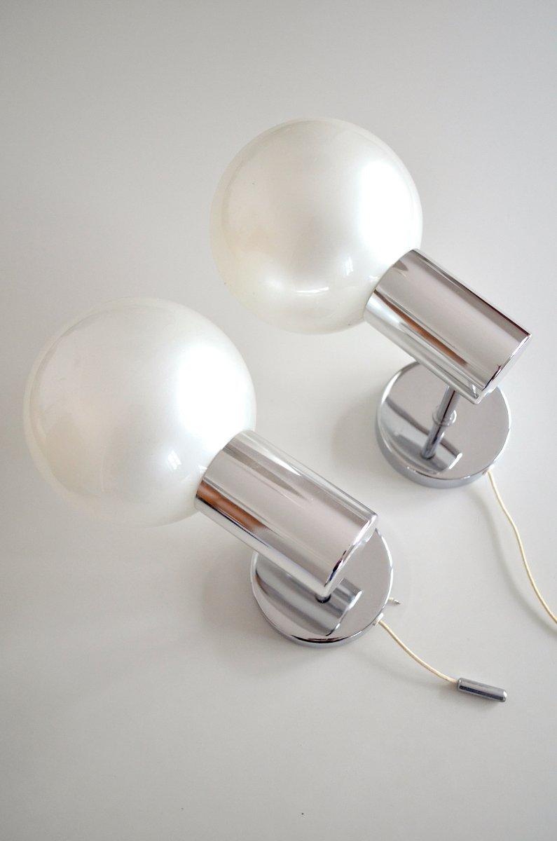 Chrom Wandlampen von Motoko Ishii für Staff, 1970er, 2er Set