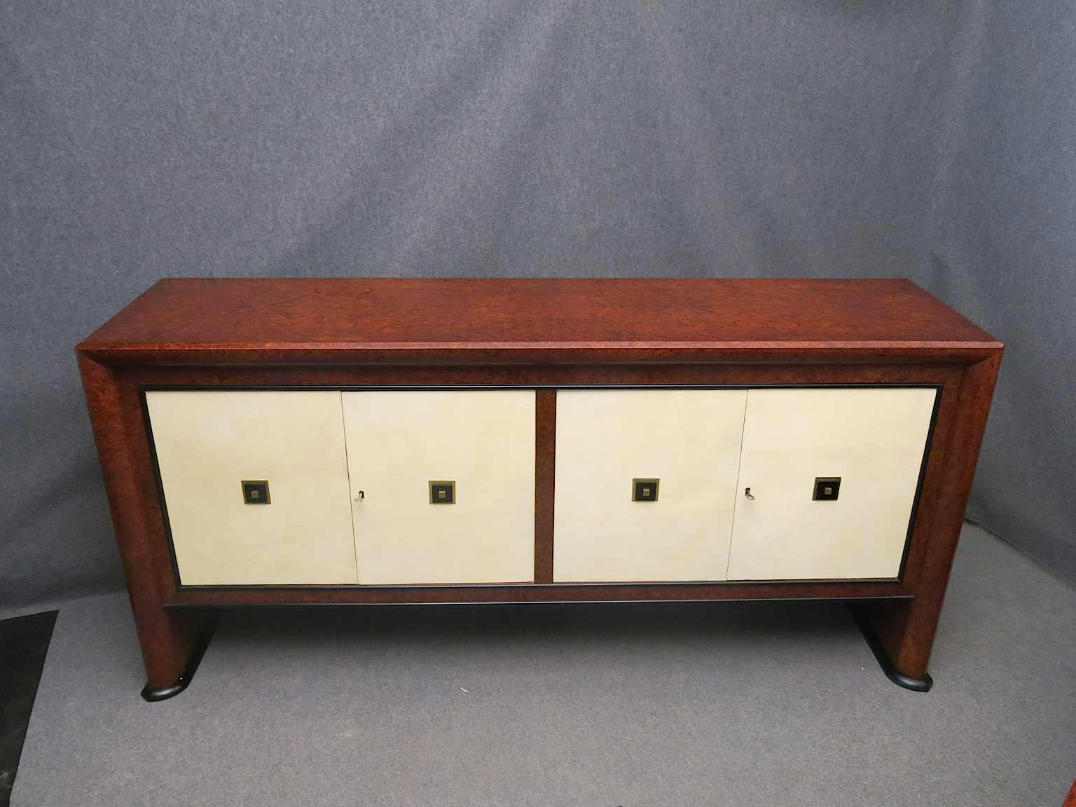 italian art deco maple parchment sideboard 1940 for sale at pamono. Black Bedroom Furniture Sets. Home Design Ideas