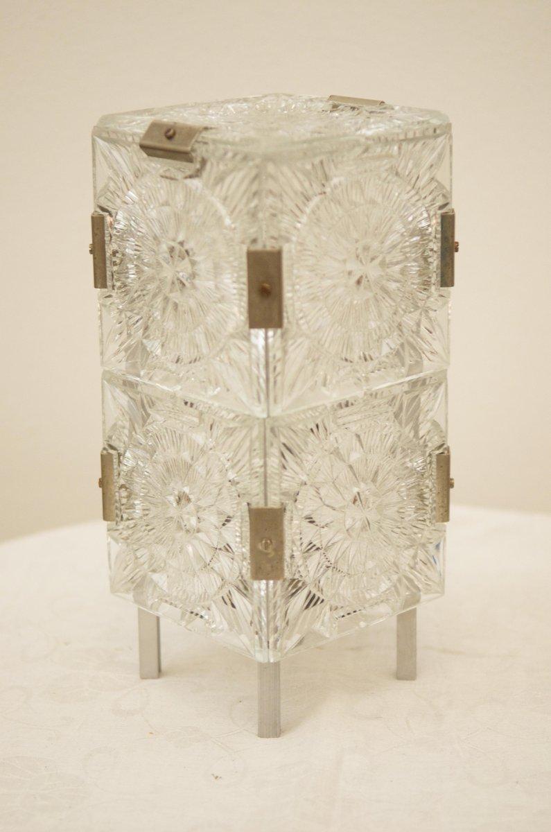 Mid Century Tischlampe aus Pressglas