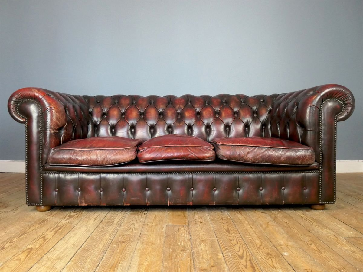 British Oxblood Leather Chesterfield Sofa 1980s For Sale At Pamono