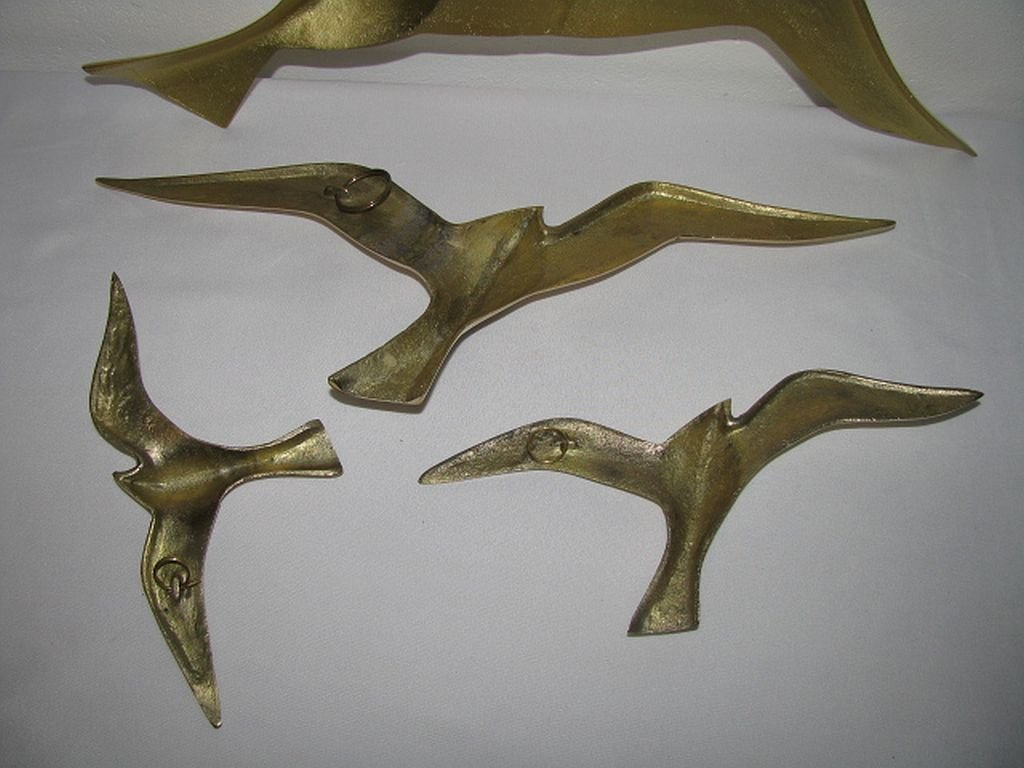 Vintage Brass Bird Wall Decoration Set Of 4 For Sale At Pamono