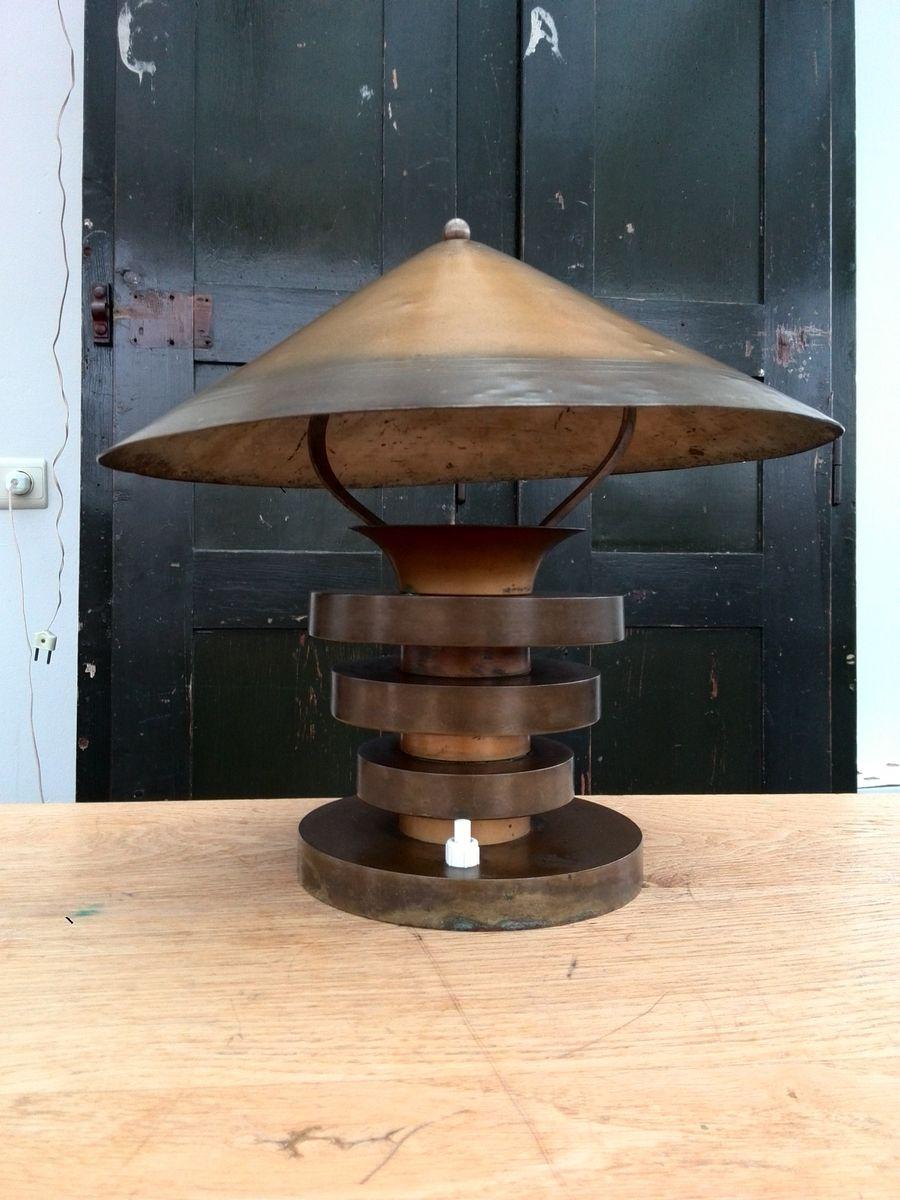 Französische Modernistische Metall Tischlampe, 1930er