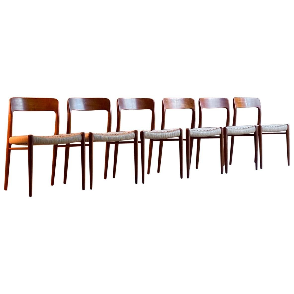 Set of Six Oak Dining Chairs by Niels O Moller for J.L.Moller