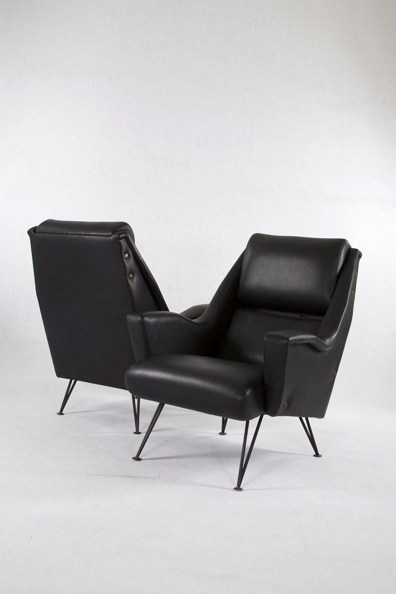 Italienische Sessel aus Leder & Stahl, 1950er, 2er Set