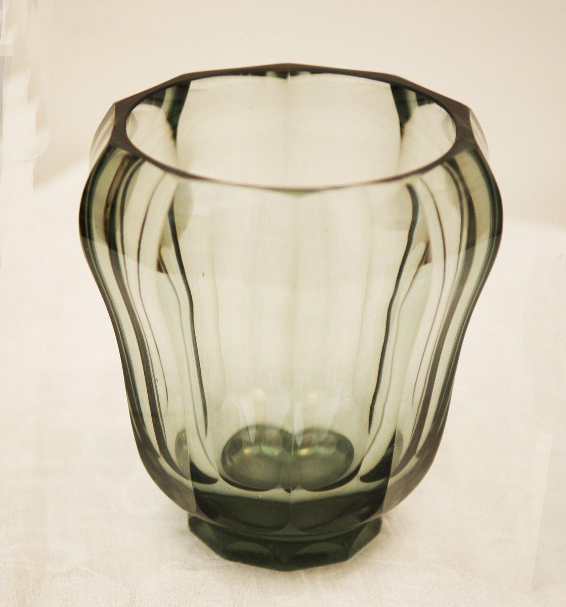art deco crystal glass vase for sale at pamono. Black Bedroom Furniture Sets. Home Design Ideas