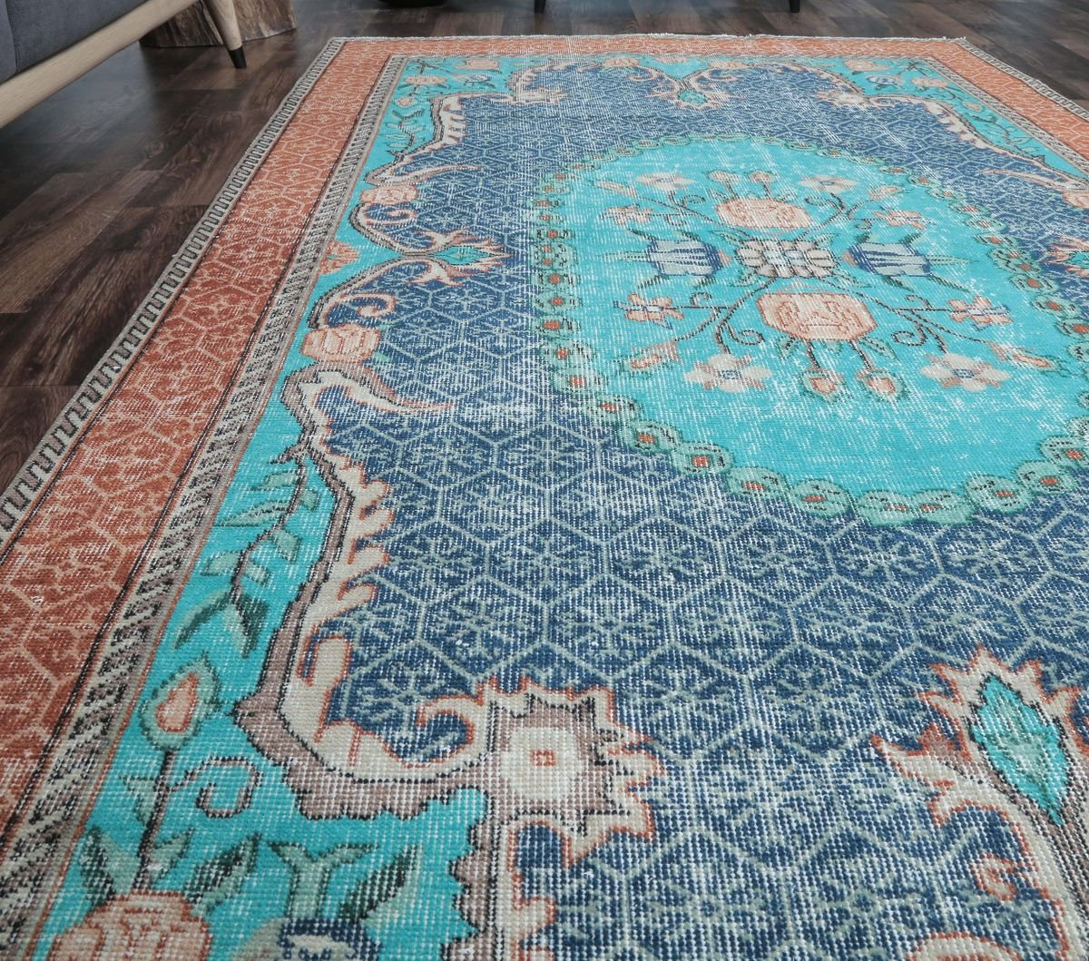 5x8 Vintage Turkish Oushak Handmade Blue Teal Wool Rug For Sale At Pamono