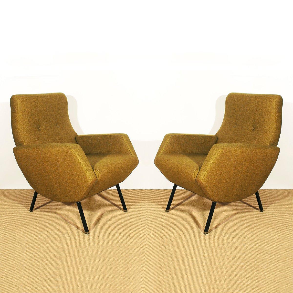 Italienische Senffarbene Sessel 1960er 2er Set