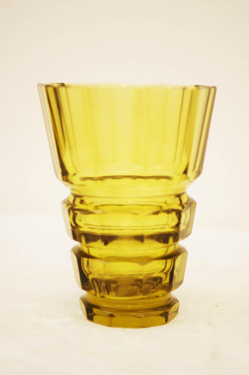 vase style boh mien art d co jaune en verre cristal en vente sur pamono. Black Bedroom Furniture Sets. Home Design Ideas