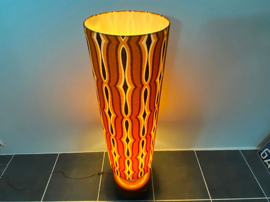 Vintage 1970s Cork Wood Orange Ceramic Lamp RETRO Amazing Giant Bulbous