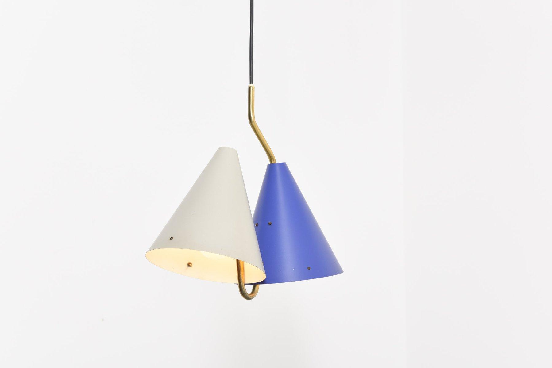 Hängelampe mit Zwei Leuchten in Blau & Grau von Svend Aage Holm Sørens...