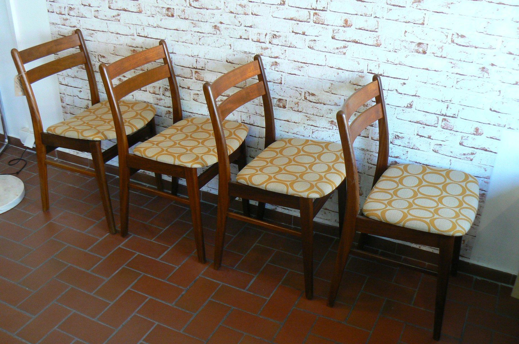 teak esszimmerst hle aus d nemark 1970er 4er set bei pamono kaufen. Black Bedroom Furniture Sets. Home Design Ideas