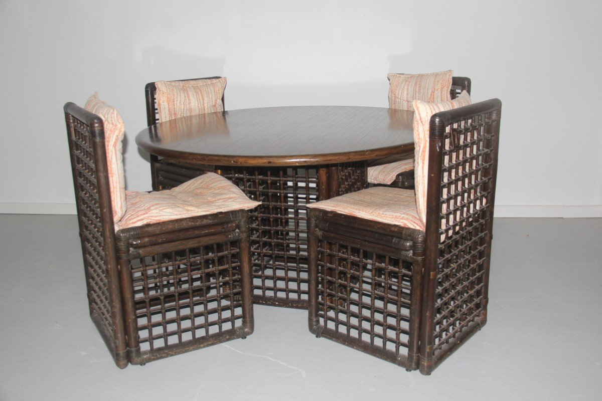 Rattan Dining Room Set by Tobia & Afra Scarpa for B&B Italia, 1970s ...