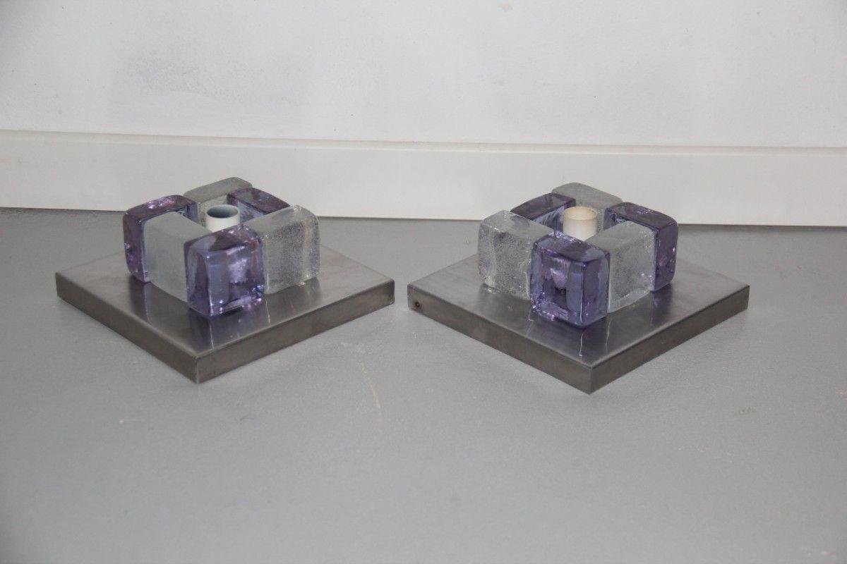 Wandlampen aus Glas & Stahl von Vistosi, 1970er, 2er Set