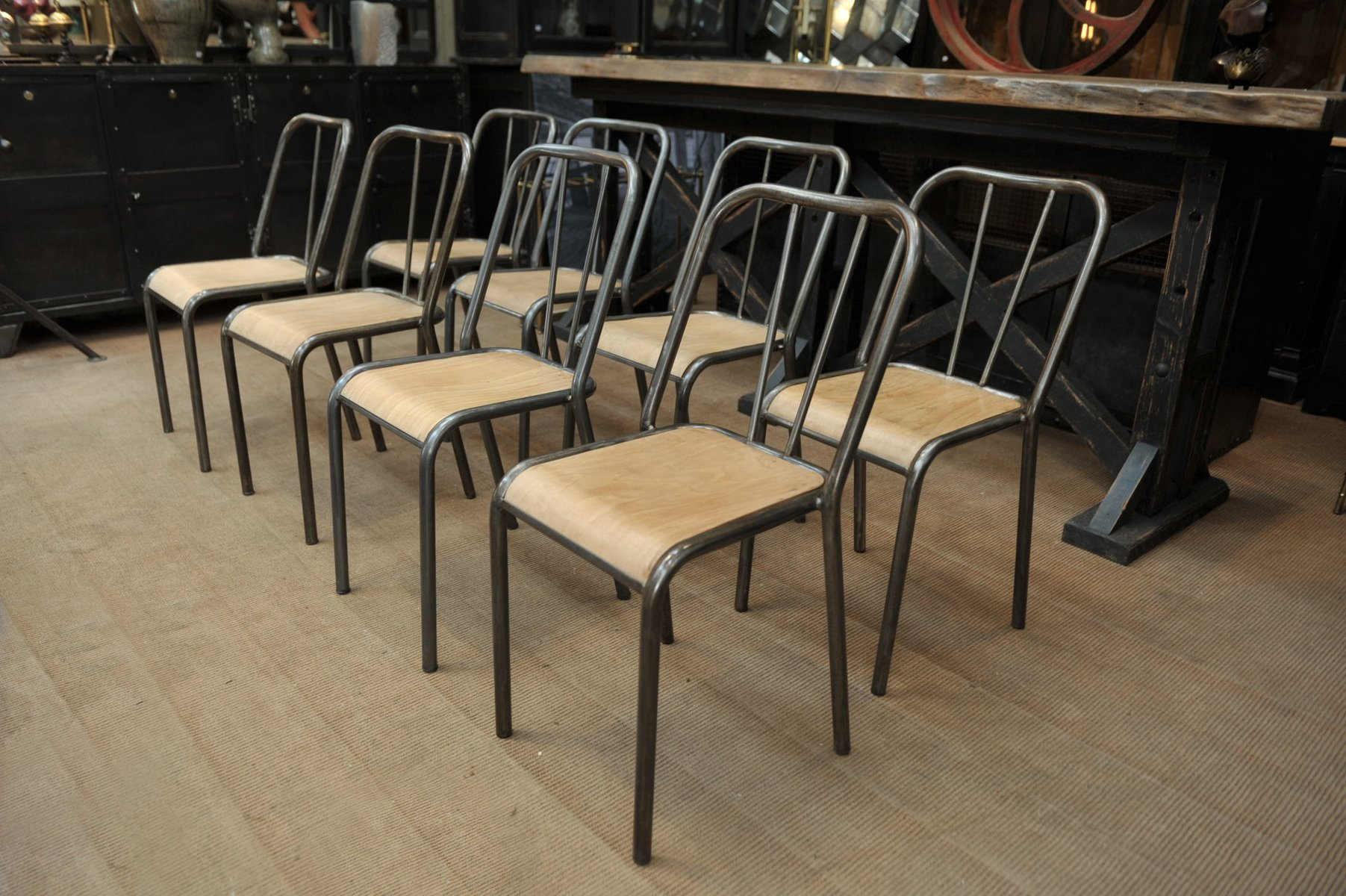 French Stackable Metal Wood Dining Chairs 1950s Set Of 8 For Sale At Pamono