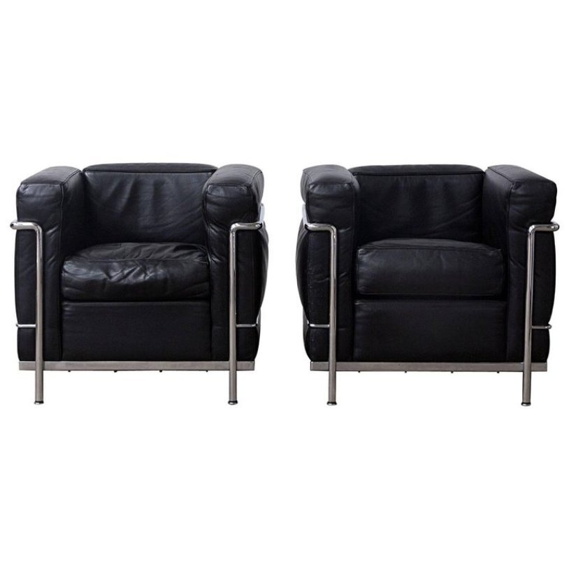 lc2 easy chairs by le corbusier for cassina 1920s set of. Black Bedroom Furniture Sets. Home Design Ideas
