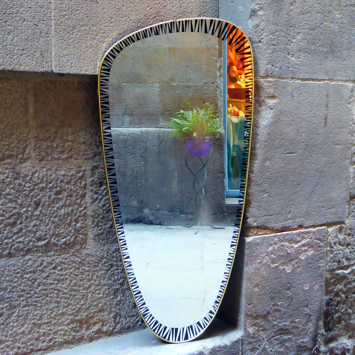 Deutscher midcentury spiegel mit messingrahmen 1950er bei for Spiegel mit messingrahmen
