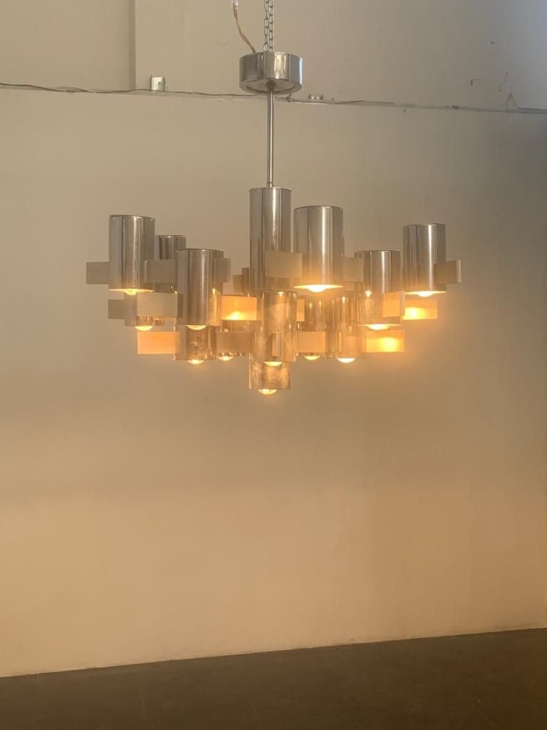Chandelier In Steel And Aluminum By Gaetano Sciolari For Sale At Pamono