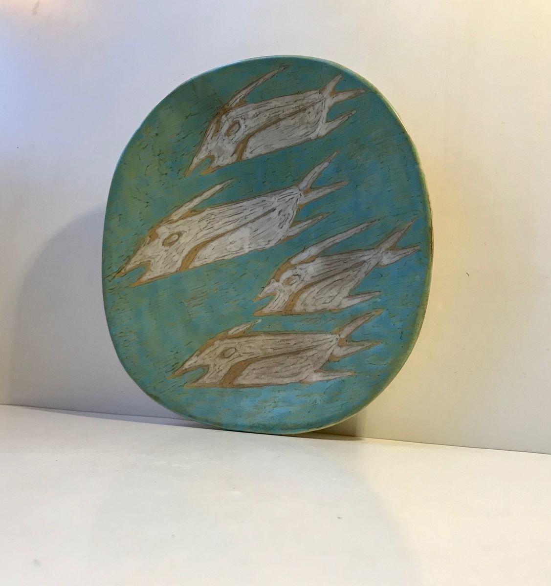 1950/'S ART POTTERY ! Gorka Livia Turquoise /& Black Retro Candle Holder 3