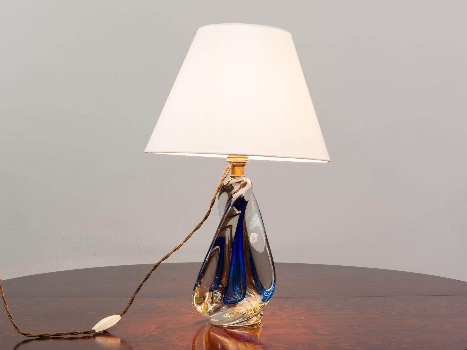 Blue Glas Lampe von Doyen, 1950er