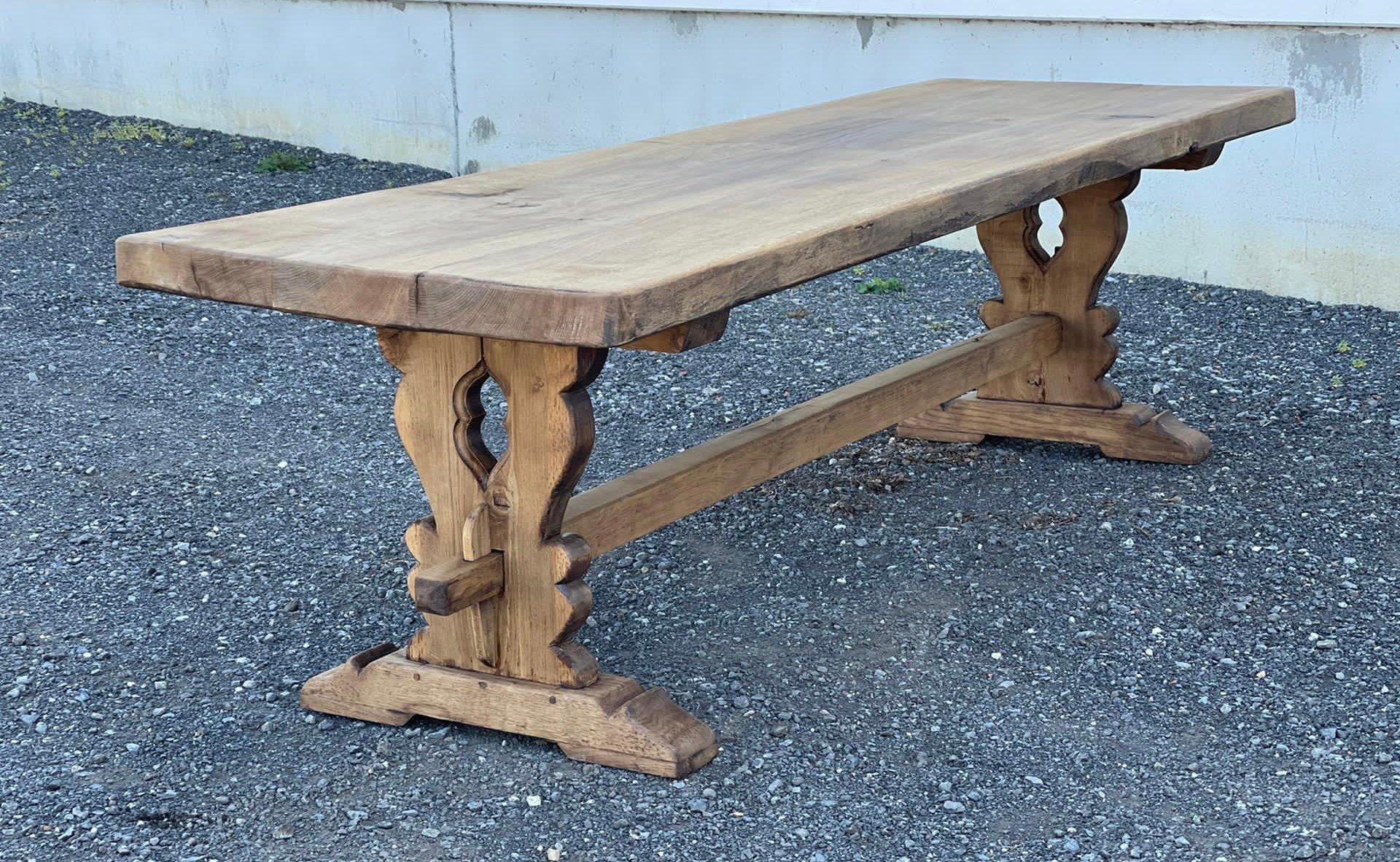 Longue Table de Ferme ou de Réfectoire en Chêne Blanchi, France