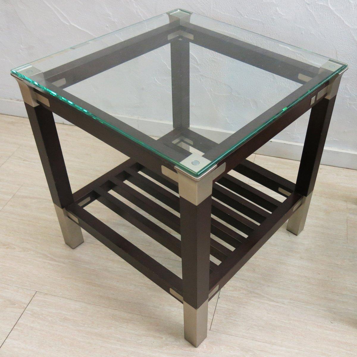 tables d 39 appoint avec plateau en verre par pierre vandel set de 2 en vente sur pamono. Black Bedroom Furniture Sets. Home Design Ideas