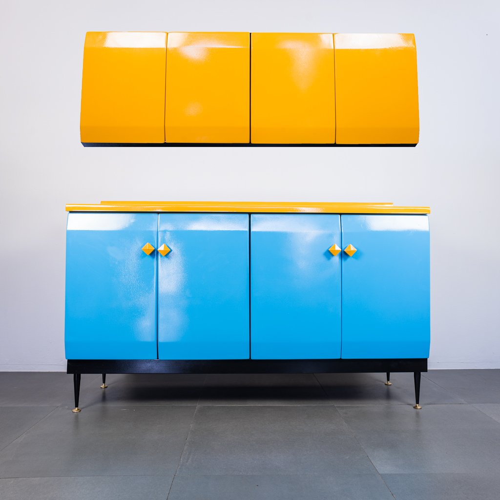Vintage Kitchen Cabinet Set In Metal 1950s Set Of 2 For Sale At Pamono