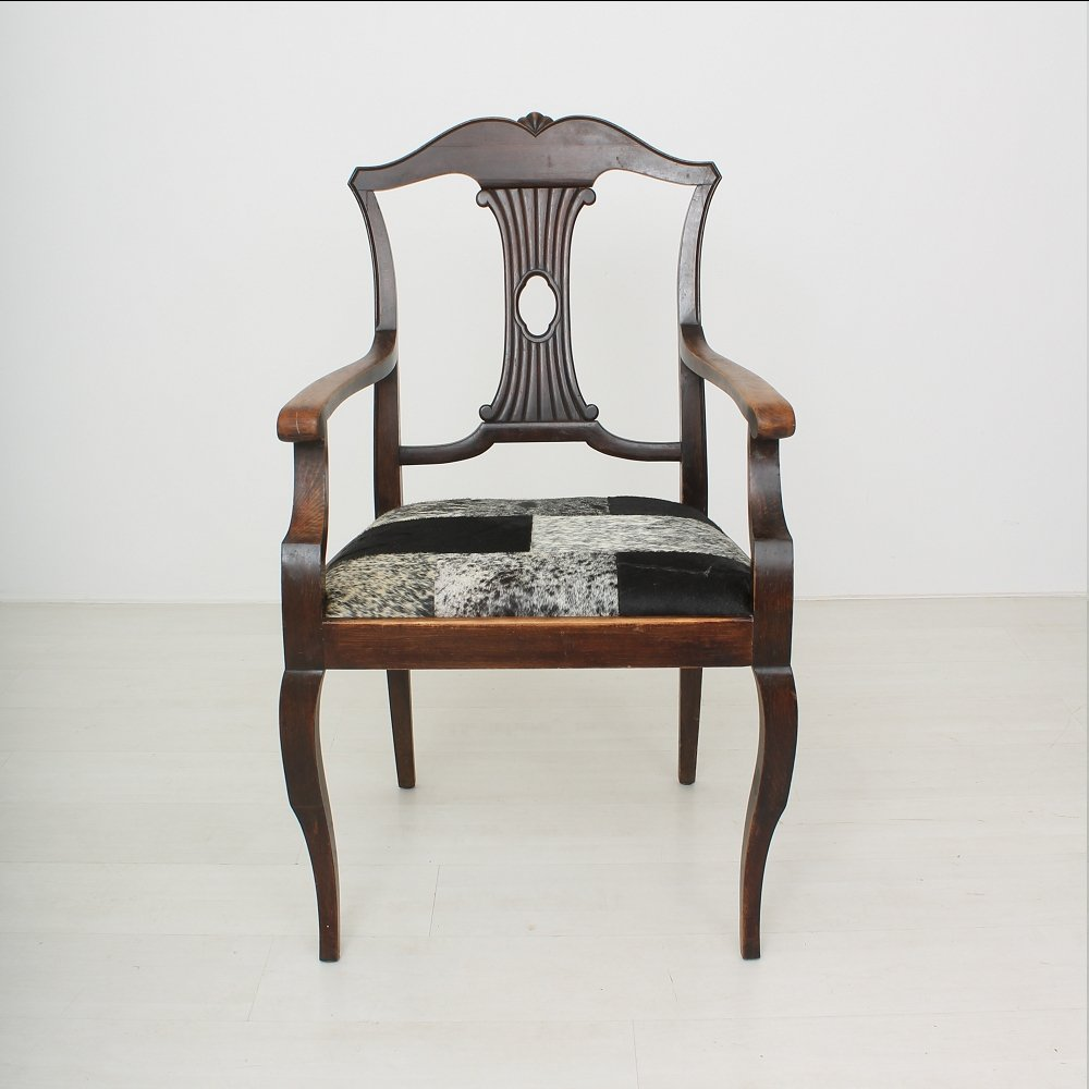 Vintage Beech And Goat Hide Armchair 1920s For Sale At Pamono