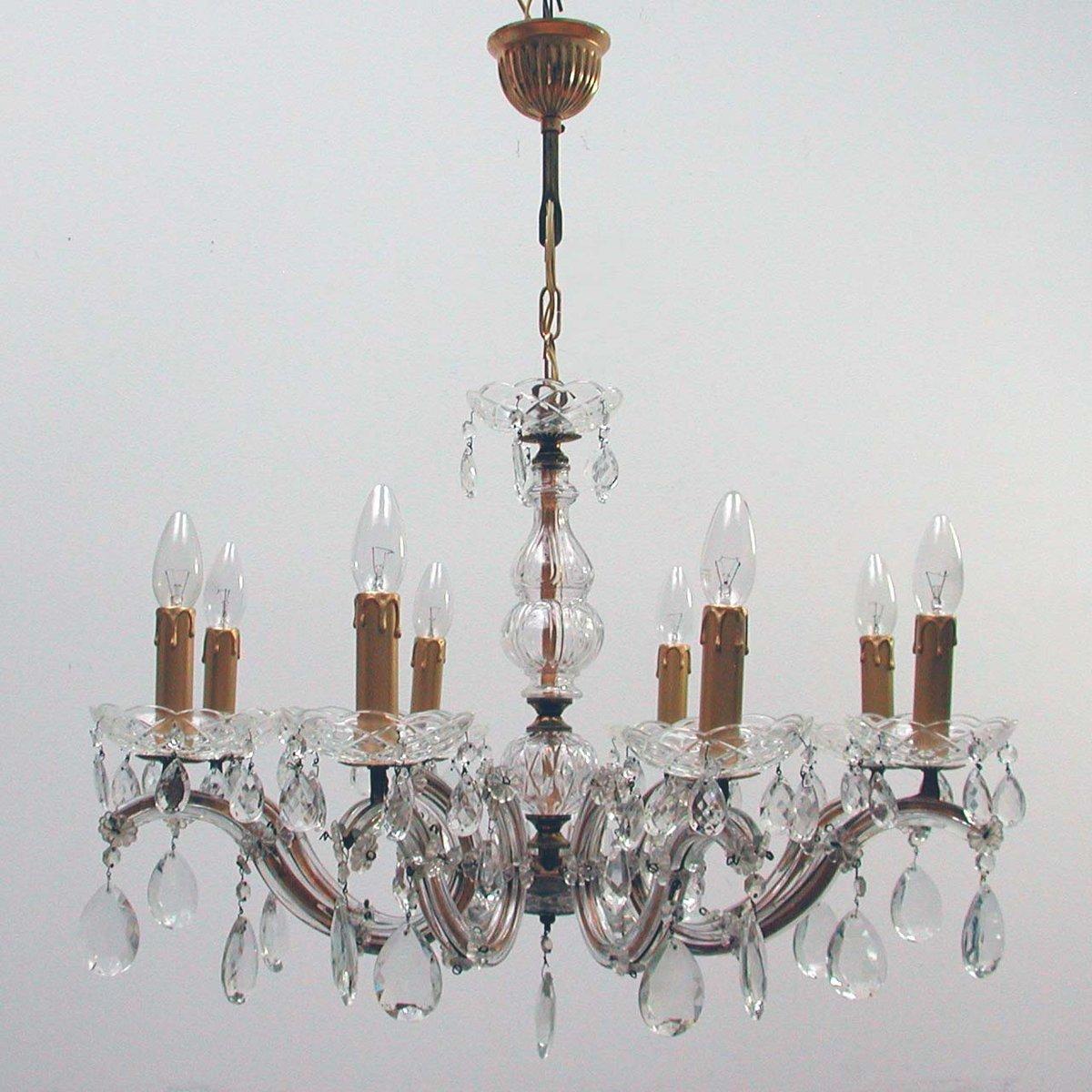 Italienischer Kronleuchter mit 8- Leuchten aus Messing & Kristall, 195...