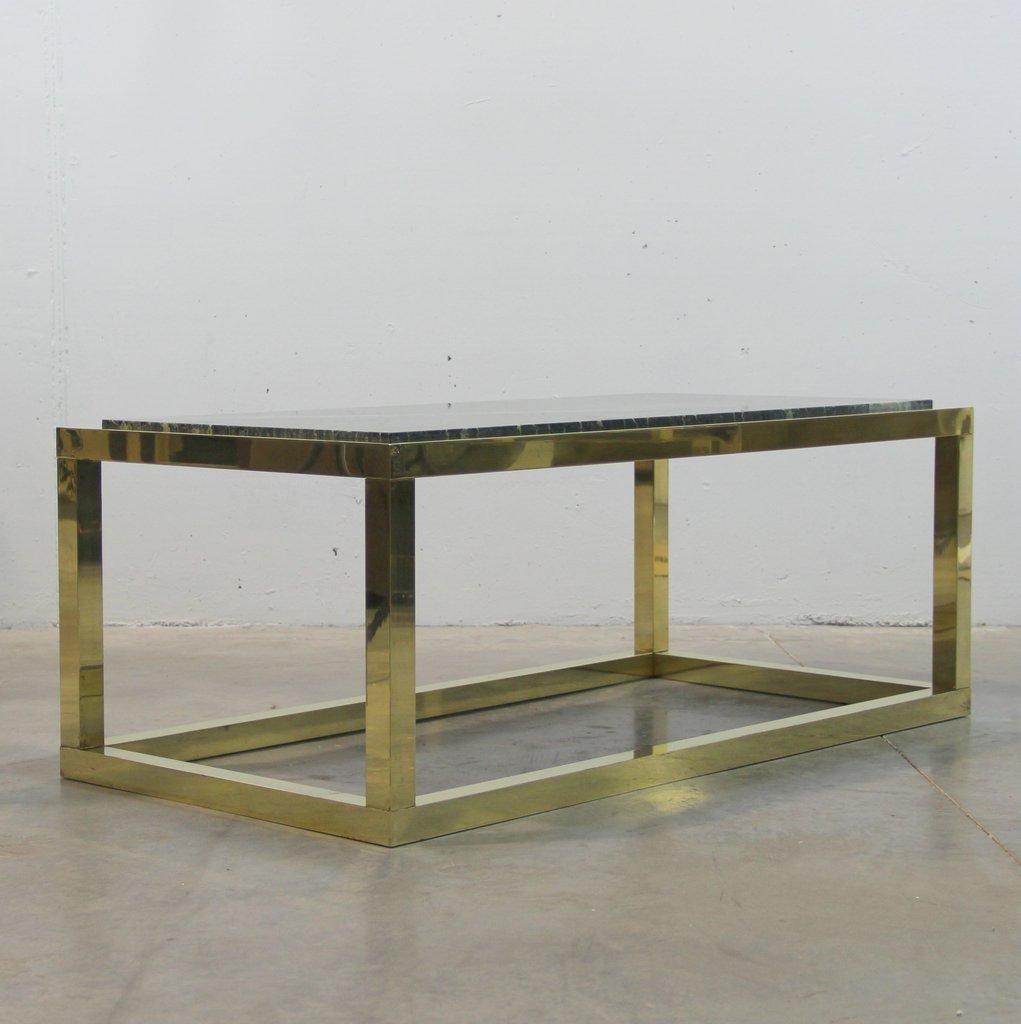 Spanish Vintage Marble & Brass Coffee Table, 1970s For