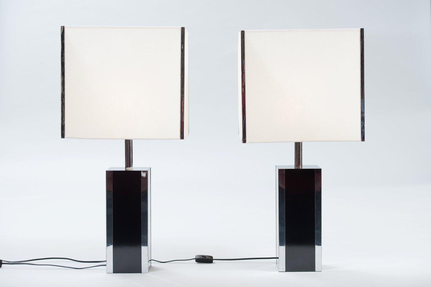 Französische Resopal und Chrom Tischlampen, 2er Set