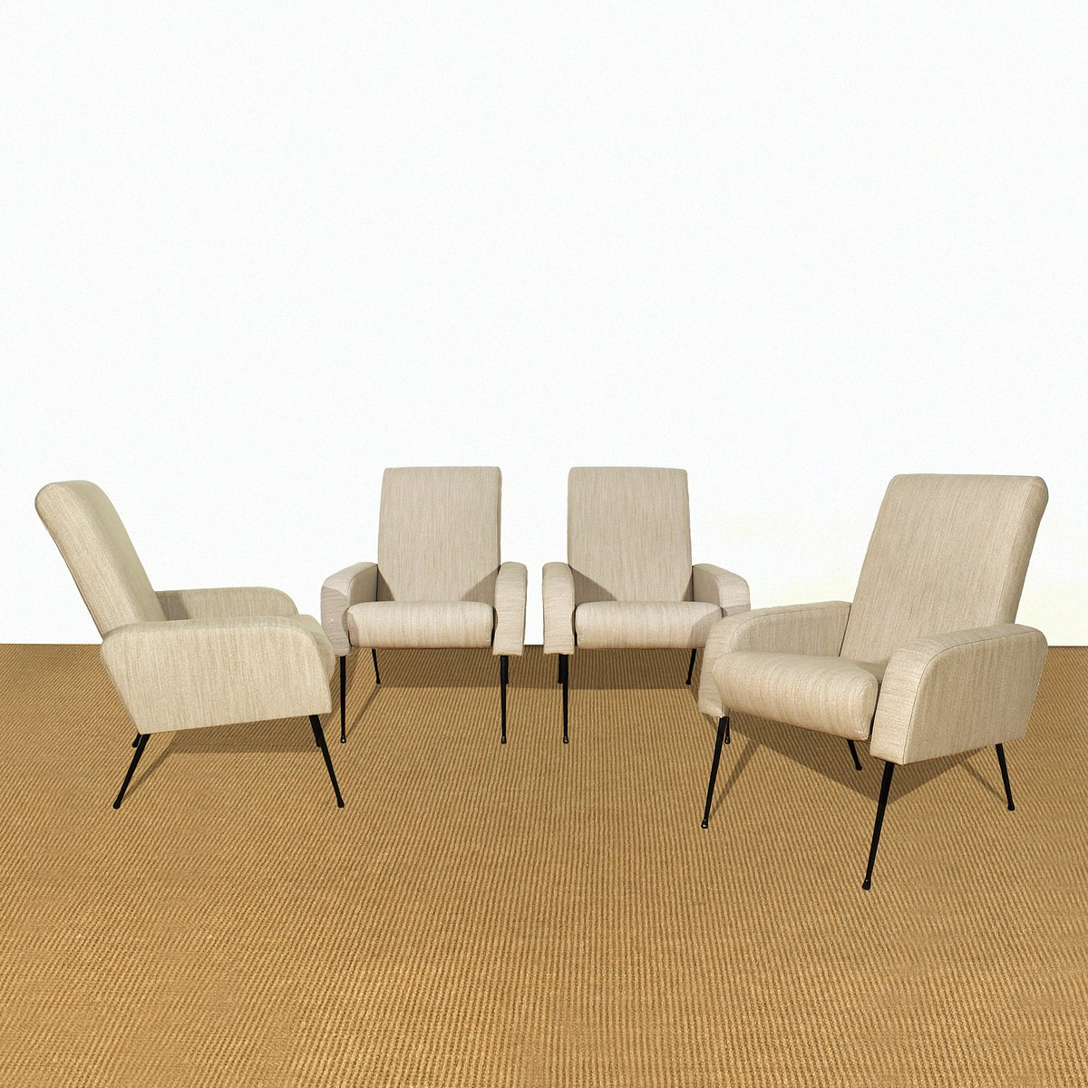 Französische Sessel, 1950er, 4er Set