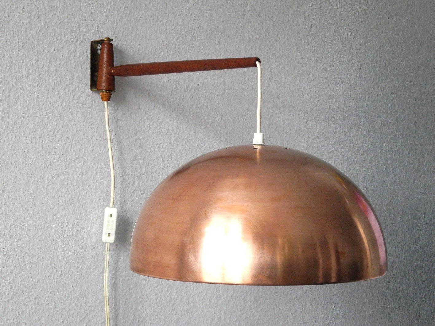 Drehbare Wandlampe aus Teak & Messing mit Lampenschirm aus Kupfer, 196...