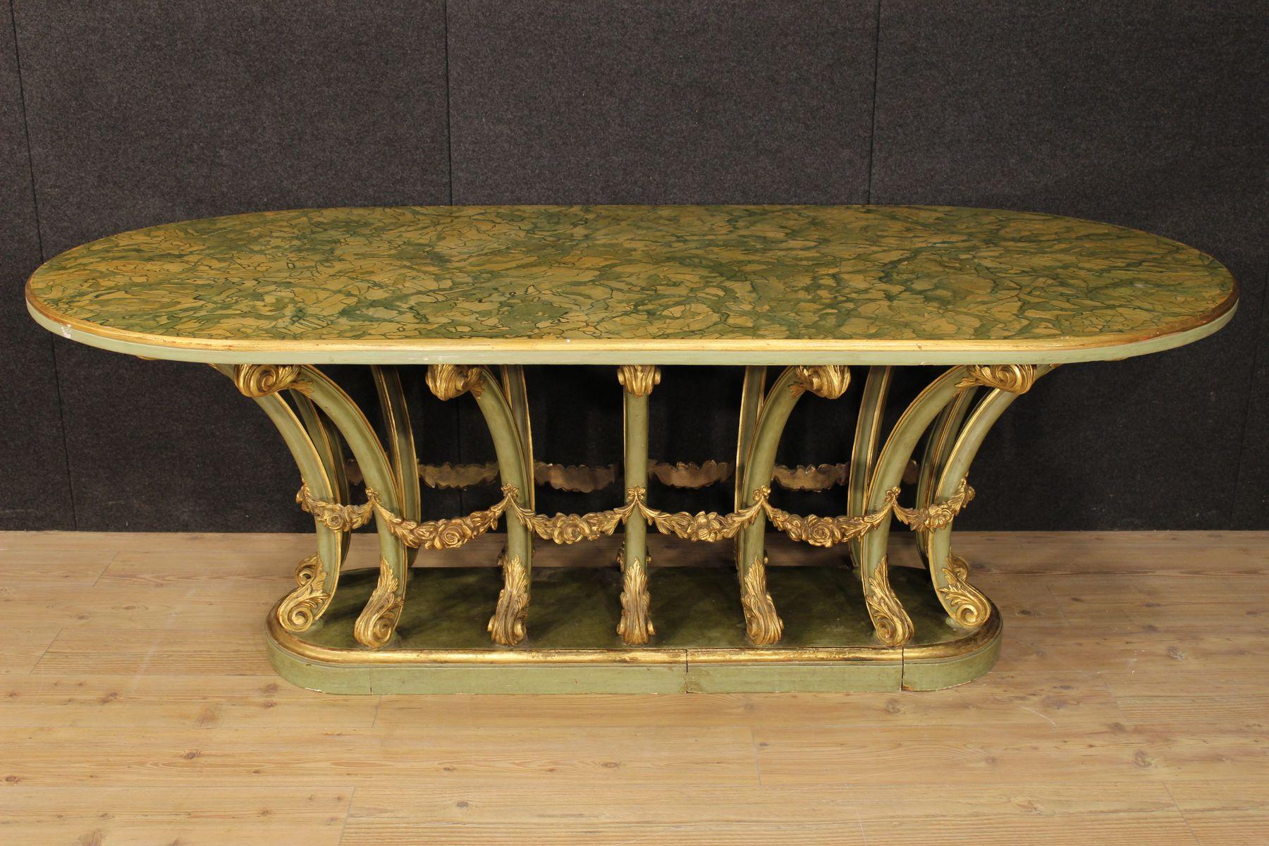 italienischer lackierter vergoldeter tisch aus holz bei pamono kaufen. Black Bedroom Furniture Sets. Home Design Ideas