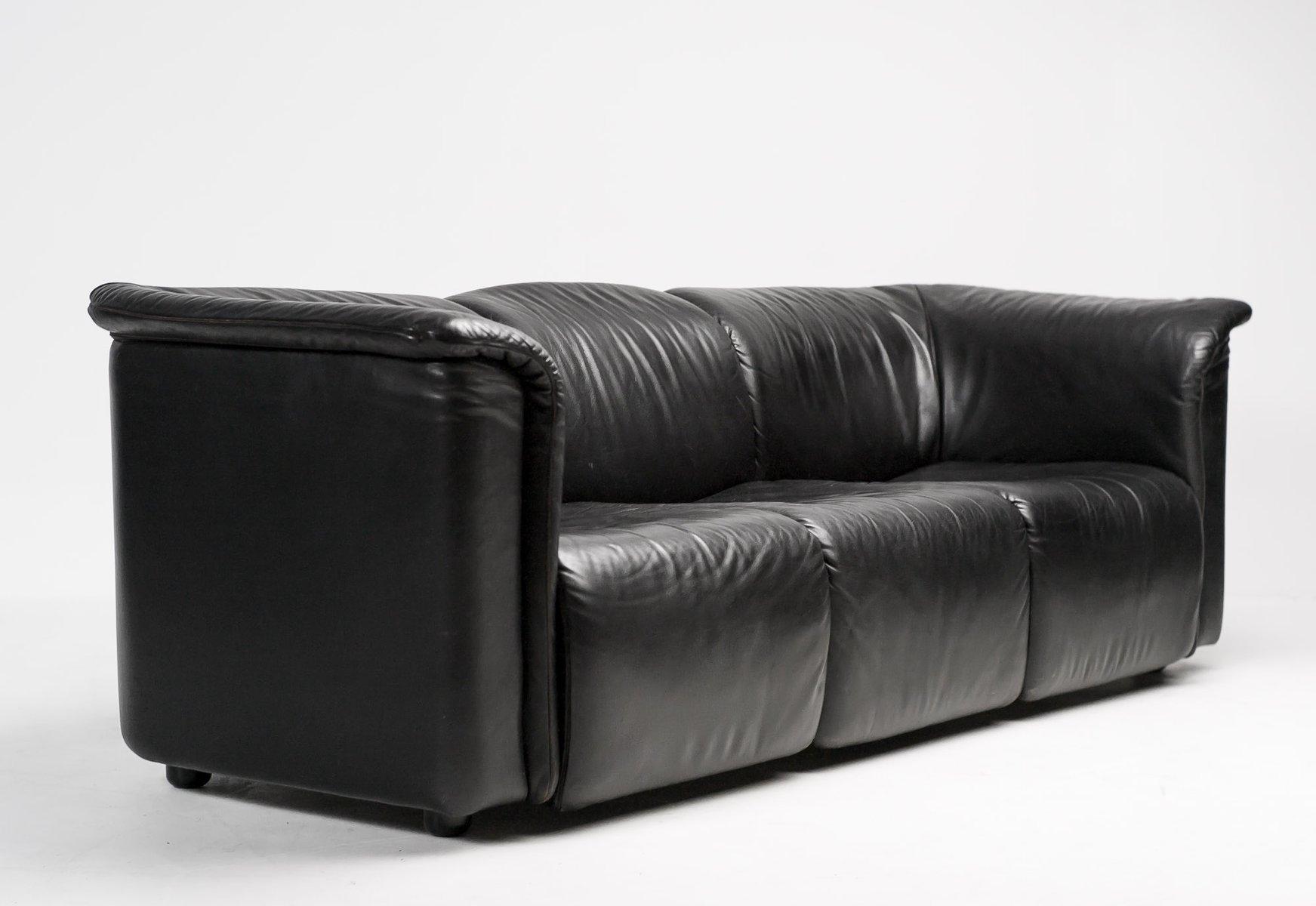 Schwarzes Hochbarett Drei Sitzer Sofa Von Karl Wittmann Für Wittmann