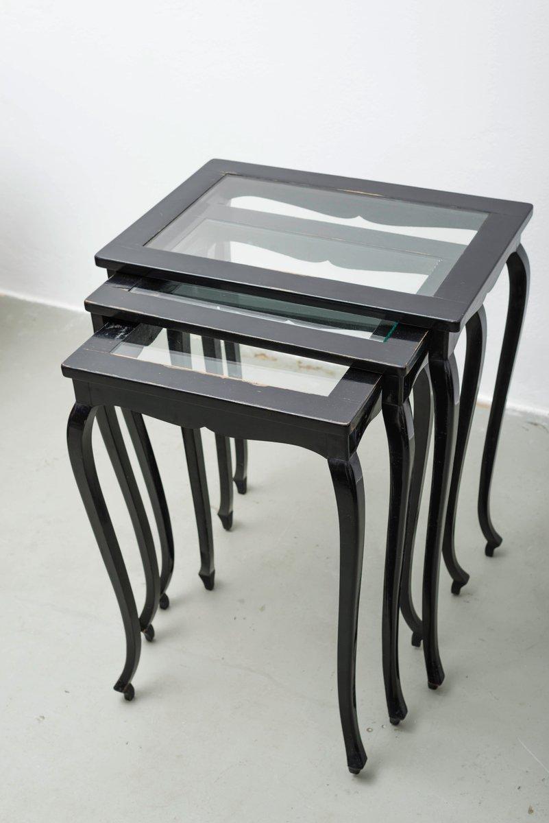 tables gigognes en verre r publique tch que 1920s set de 3 en vente sur pamono. Black Bedroom Furniture Sets. Home Design Ideas
