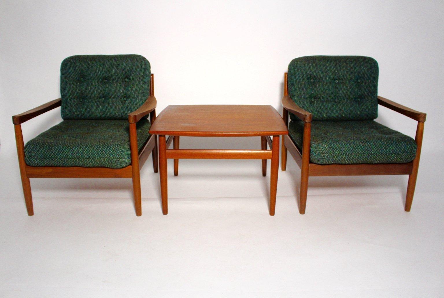 Dänische Lounge Sessel mit Couchtisch von Grete Jalk für France & Søn,...