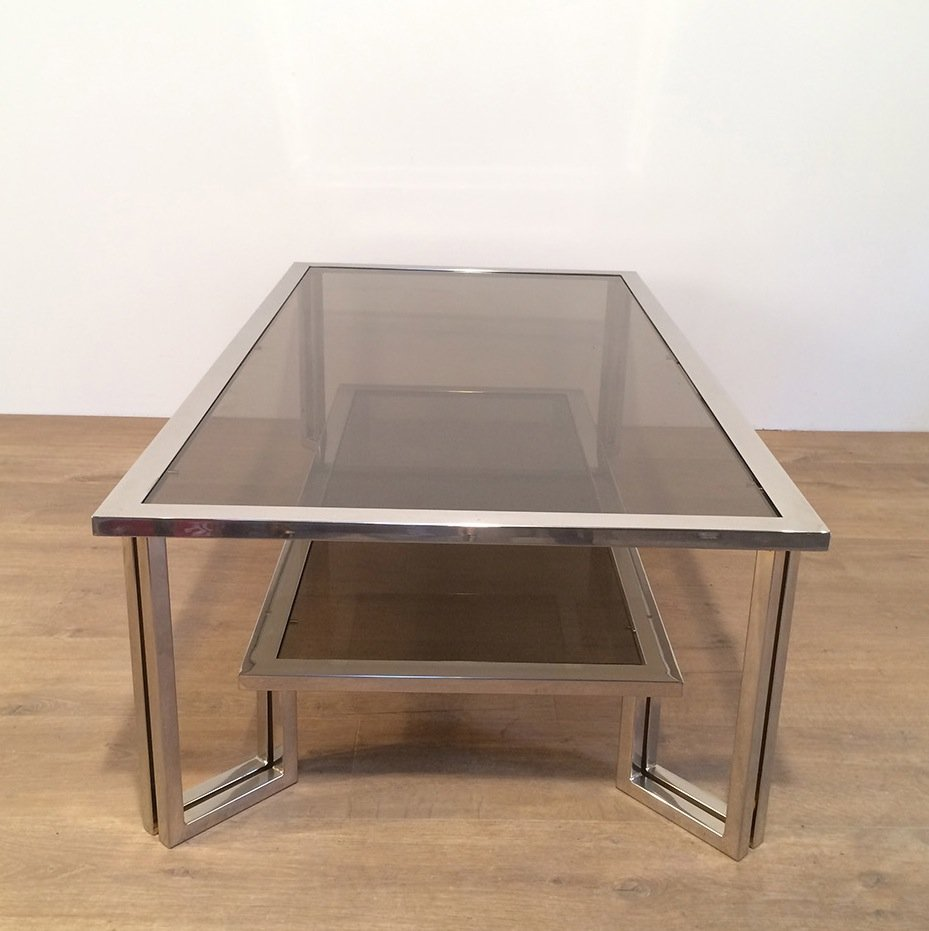 Chrome & Smoked Glass Coffee Table For Sale At Pamono
