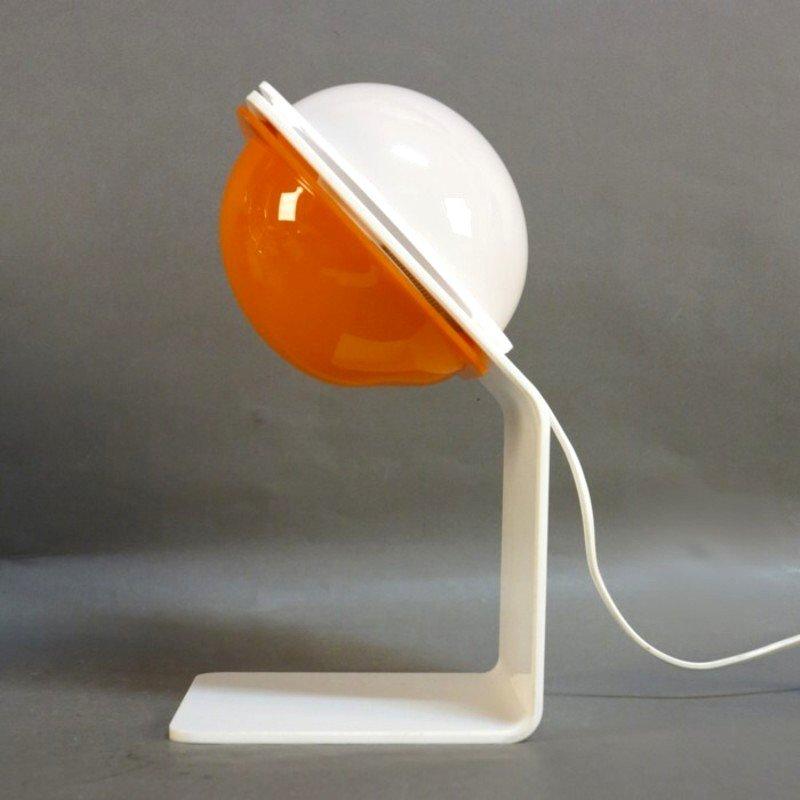 Orangene Tischlampe von Harvey Guzzini, 1970er