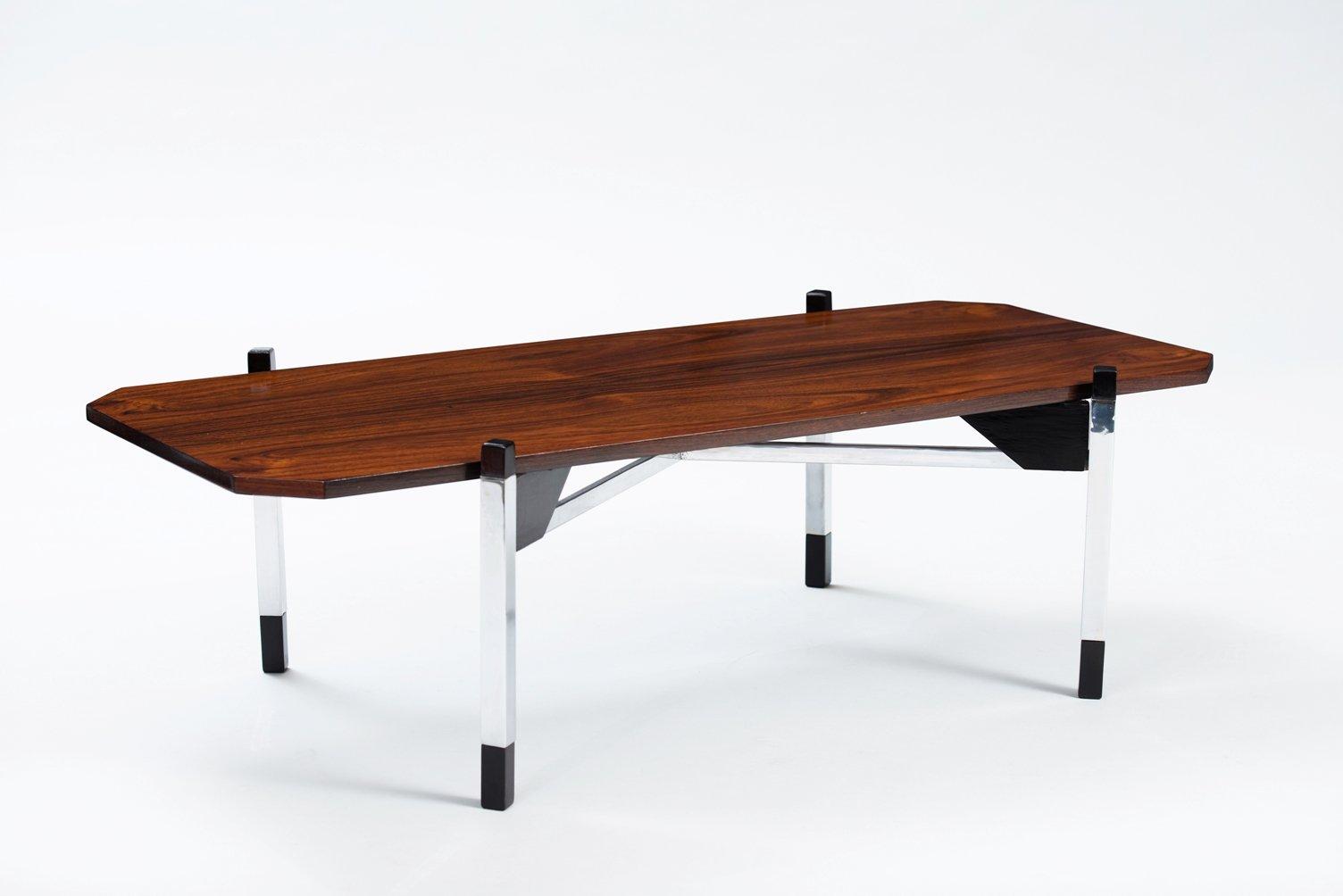 table basse en chrome et palissandre italie en vente sur pamono. Black Bedroom Furniture Sets. Home Design Ideas